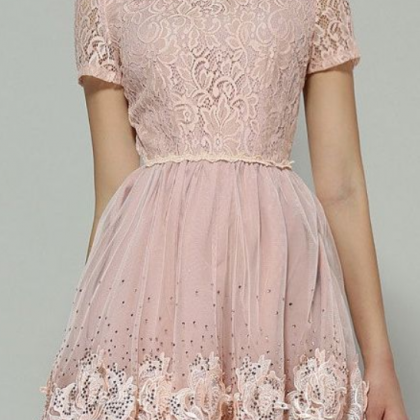 Blush pink lace party dress,short p..