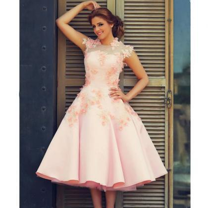 Said Mhamad Prom Dresses High Neck Evening Dresses Pink Special Occasion Dresses Satin Evening Gowns Hand Made Flowers Pageant Dress Tea Length Party Dresses