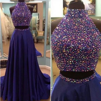 Long prom dress, two piece prom dress, gorgeous prom dress, inexpensive prom dress, beading prom dress, elegant prom dress, evening dress