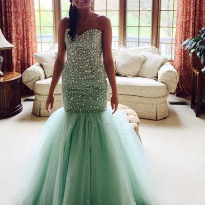 Mint Prom Dresses,Tulle Prom Dress,..