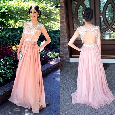 Pink Prom Dresses,Pink Evening Gown..