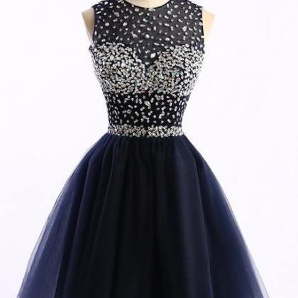 navy blue Homecoming Dress,Tulle Ho..