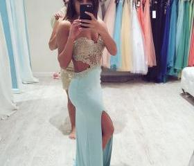 Custom Made Baby Blue Prom Dresses Long Evening Dresses Prom Dresses Formal Dresses Evening DressesWedding Dresses Garden Bridal Gown