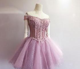 Eveing dresses Appliques Homecoming Dress Off-the-shoulder TULLE PROM DRESS Short A-Line DRESSES MINI PARTY DRESSES