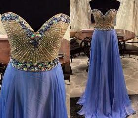 Real Custom Royal Beading Prom Dress 2015 Evening Gowns Chiffon Floor Length Prom Dress Elegant Prom Dresses Evening Dresses