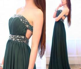 Charming Prom Dress Strapless Prom Dress,A-Line Prom Dress Chiffon Prom Dress Sequined Prom Dress