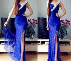 Fashion Sexy Blue One Shoulder Prom Dresses Beaded Sheath Long High Side Slit Lace Classic Evening Gowns