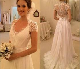 long prom dress, white prom dress, short sleeve prom dress, wedding dress, lace prom dress, cheap wedding dress, evening dress