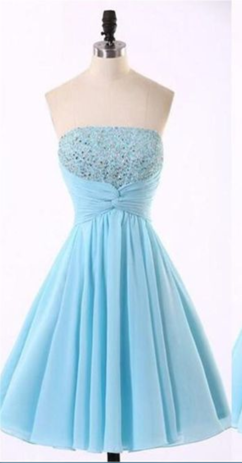 Cheap Chiffon Light Blue Cute homecoming prom dresses,Short Prom Dresses,Cocktail Dress,Homecoming Dress,Graduation Dress