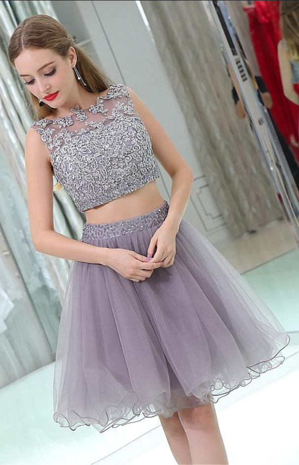 Homecoming Dress,Homecoming Dresses,Gray Lace Homecoming Dresses,Two Pieces Homecoming Dresses,Beading Homecoming Dresses