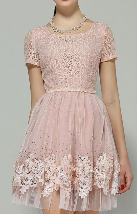 Blush pink lace party dress,short party dresses,homecoming dresses