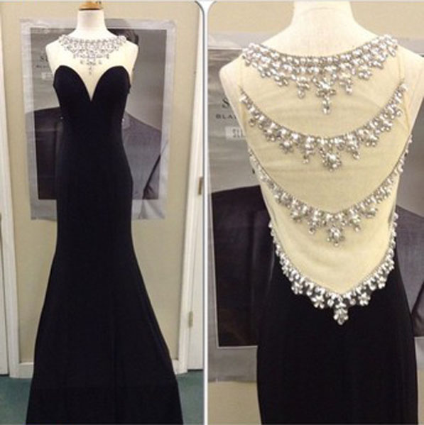 Black Mermaid Prom Dress Formal Evening Dress Crystal Evening Dress Elegant Evening Dress