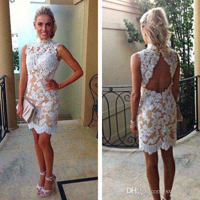 Vintage Lace Cocktail Dresses High Collar White Lace Champagne ...