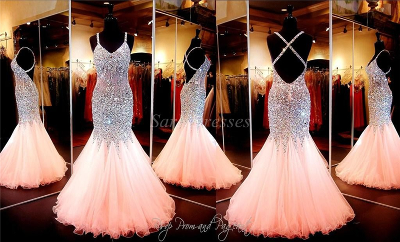 Custom Made Coral Mermaid Prom Dress V Neckline Open Back Pageant ...