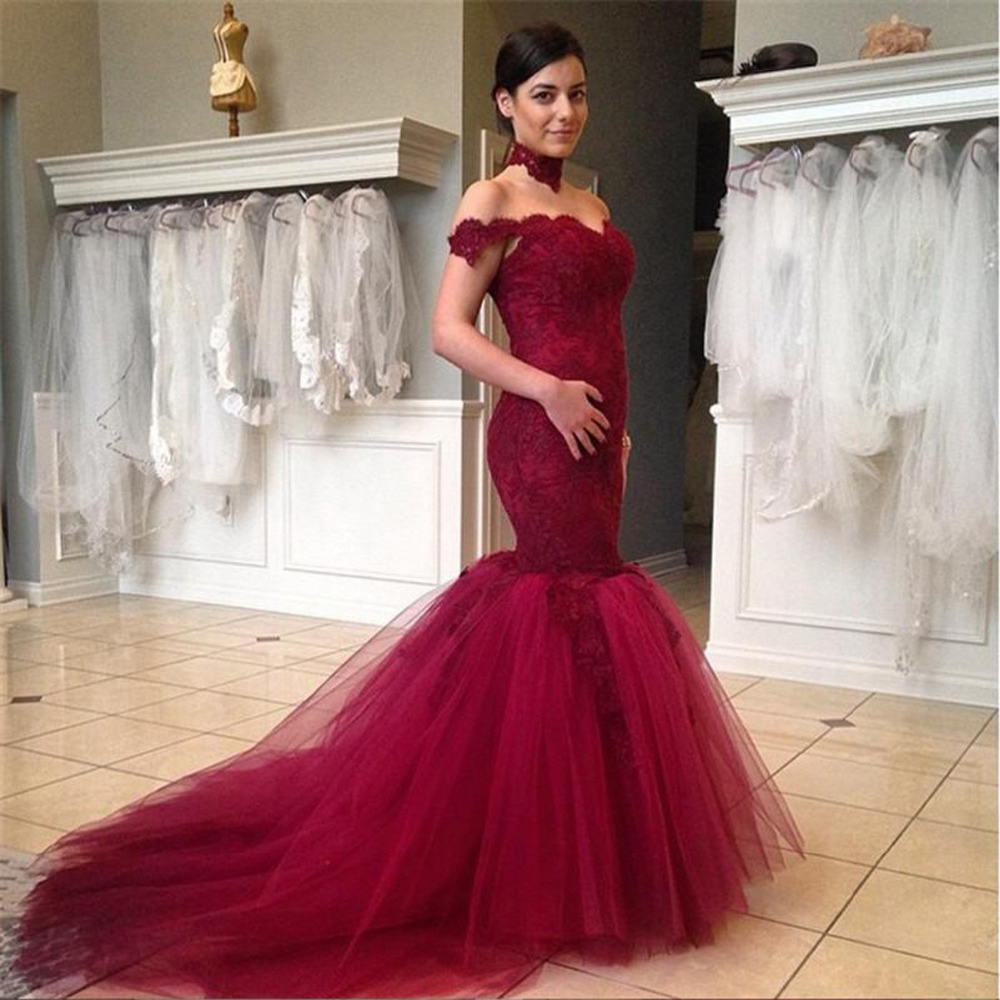 Prom Dress,Lace Prom Dress-mermaid Prom Dresses-Burgundy Prom ...