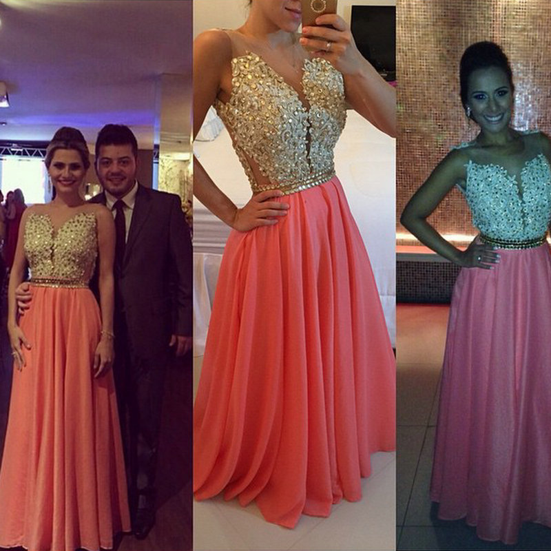 Coral Prom Dresses,Charming Evening Dress,Coral Prom Gowns,Lace ...