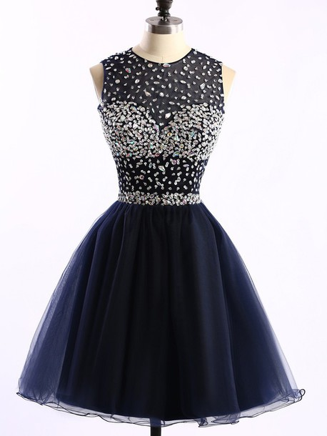 navy blue Homecoming Dress,Tulle Homecoming Dresses,Homecoming Gowns,Beaded Party Dress,Short Prom Gown,Sweet 16 Dress,Modest Homecoming Dresses,Cute Evening Dress