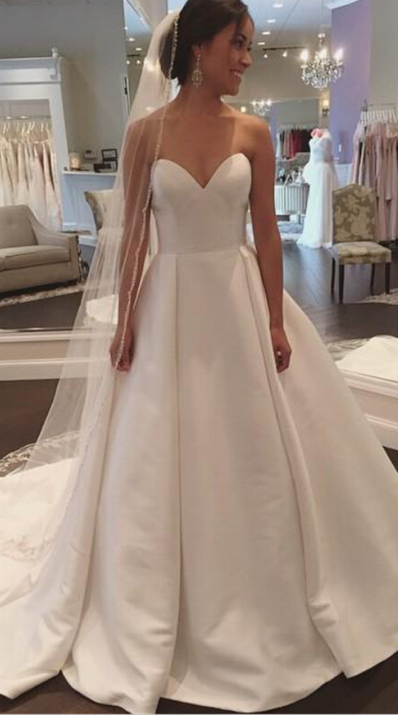 Wedding dresses wedding gown white sweetheart satin for Simple wedding dresses for small wedding