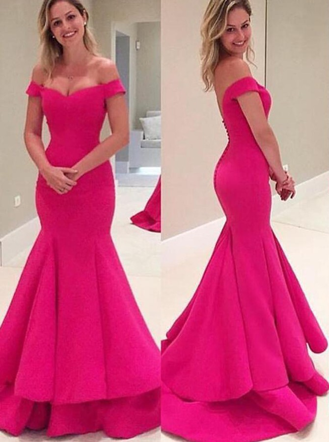 Off shoulder prom dress hot pink prom dresses high quality for Fuschia pink dress for wedding