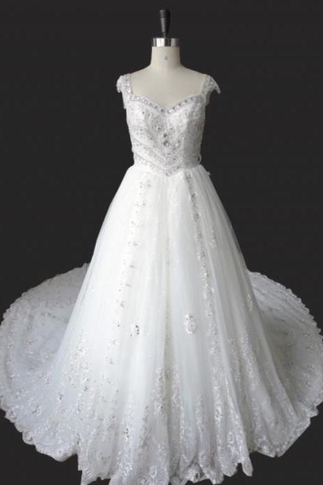 Lace Appliques and Beaded Embellished Sweetheart Cap Sleeves Floor Length Tulle Wedding Gown Featuring Cathedral Train and Illusion Open Back