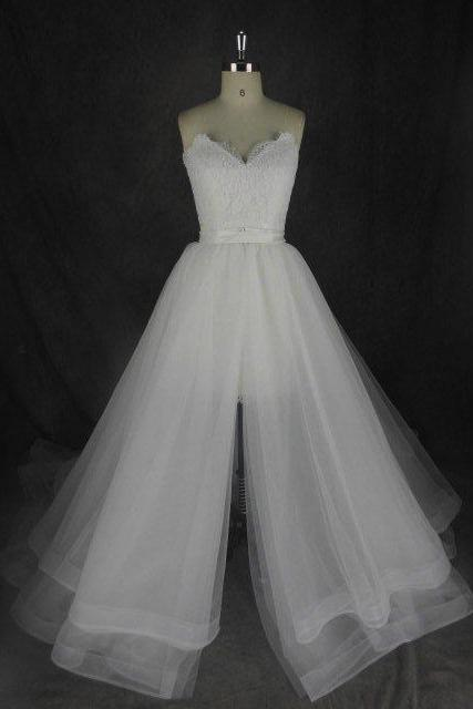 2 In 1 Wedding Dress,Short Wedding Dresses, Wedding Dress,Wedding Dress,Wedding Gown,Bridal Gown,Bride Dresses, A-line Wedding Dress,Lace Wedding Dress,Wedding Dress With Detachabkle Train,Sweetheart Wedding Gown,Beach Wedding Dress,