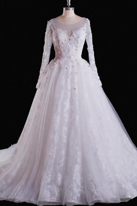 Wedding Dress,Wedding Gown,Bridal Gown,Bride Dresses, Long Wedding Dresses, Ball Gown Wedding Dress,Lace Wedding Dress,Princess Wedding Gown,Long Sleeves Wedding Dress,White Wedding Gowns,Appliqued Bridal Dresses,Customized Made Wedding Dress ,Beaded Wedding Dress ,