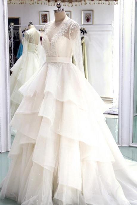 Long Sleeves A-line Wedding Gown with Tiered Ruffles, Pearls and Beaded Embellishment