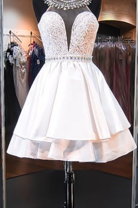 Sleeveless Mini High-Neck A-line Delicate Beads Homecoming Dress
