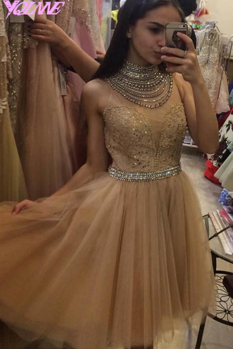 Sexy Prom Dresses,Short Prom Dresses,Champagne Prom Dress,High Neck Prom Dresses,Crystals Prom Dresses,Short Party Dress,Evening Gown,Mini Dresses