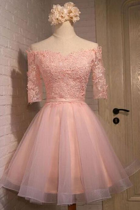 Pink Homecoming Dress,Half Sleeve Homecoming Dress,Lace Homecoming Dress,Dream Homecoming Dress,Juniors Homecoming Dress