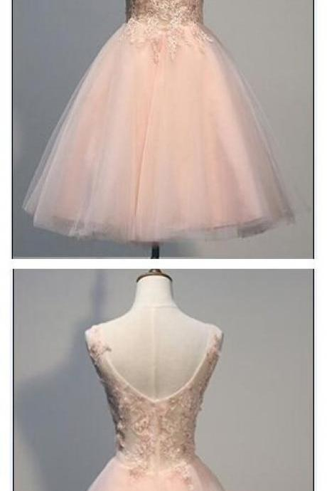 Pink Lace Homecoming Dresses, V-Neck Homecoming Dresses, Tulle Homecoming Dresses, Cute Homecoming Dresses, Short Prom Dresses, Homecoming Dresses