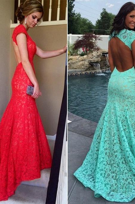 Hot Red Lace Prom Dress, Mermaid Open Back Prom Dresses, Latest Cap Sleeve Long Prom Gowns