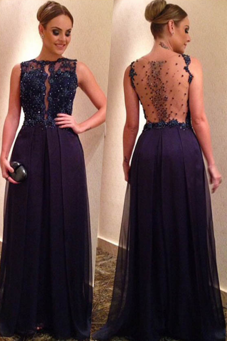 Sexy Navy Blue Chiffon Strapless Long Prom Dresses See Through Back Formal Dress Evening Party Gown
