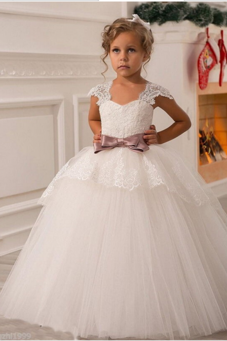 White Lace A-line Flower Girl Dress with Bow Accent