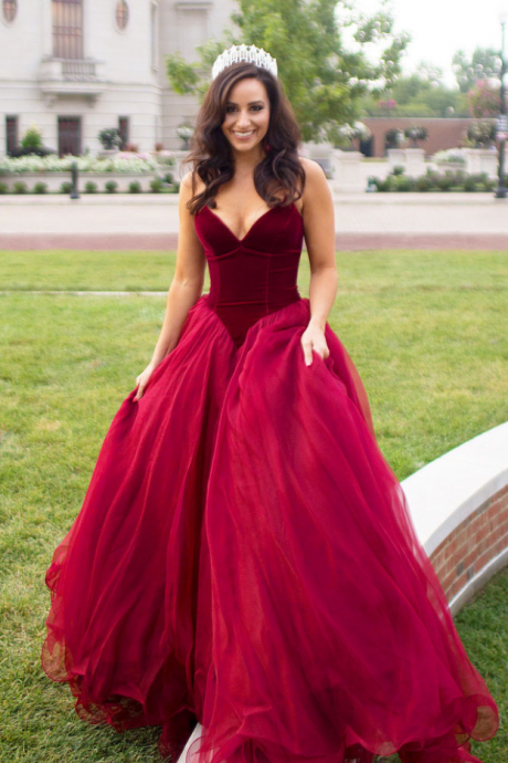Wine red evening gown, ball gown, wedding dress, formal dress