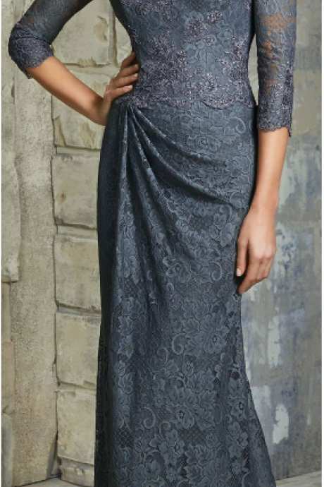 Grey lace ball gown to mother's evening gown.