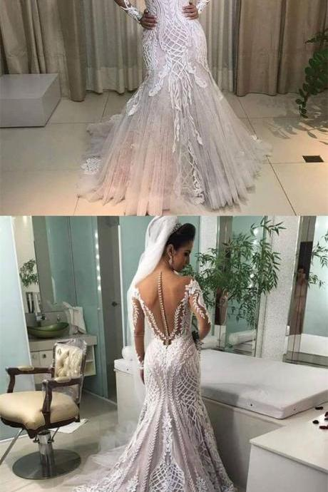 Mermaid Off-the-Shoulder Long Sleeves Wedding Dress with Appliques