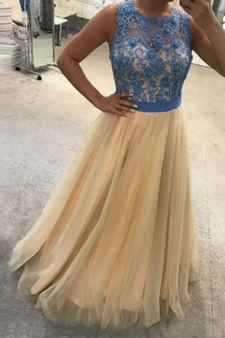 Cheap round neck lace long prom dress, Cheap evening dress,