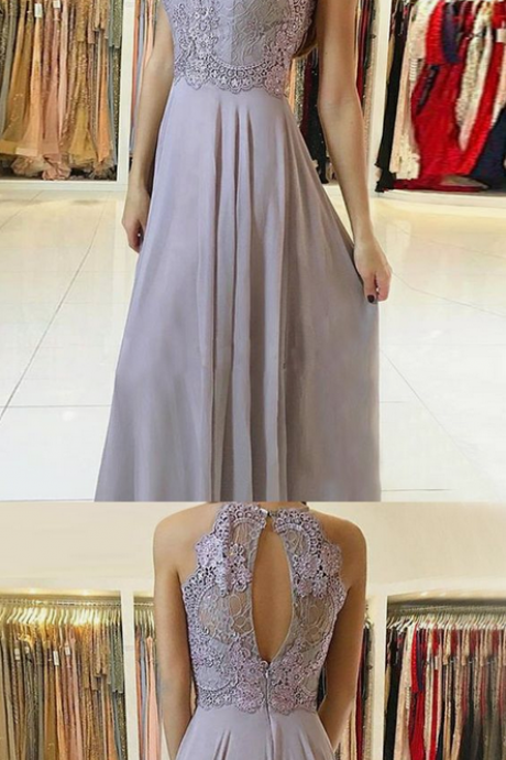 A-Line Round Neck Lilac Chiffon Prom Dress with Appliques Beading ,evening dresses
