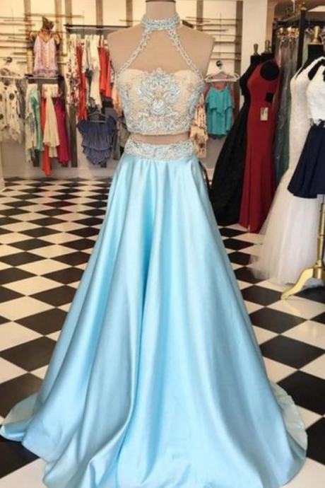 Light blue satins two pieces lace round neck formal dresses,long dress