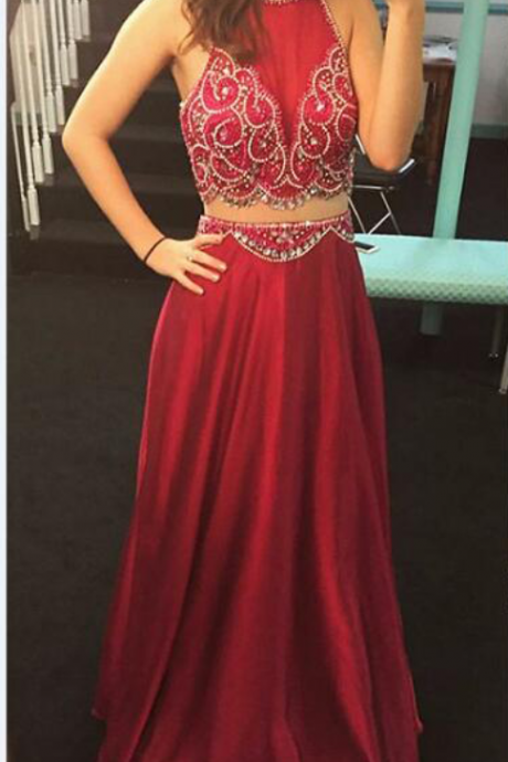 Sexy Prom Dresses, Beaded Pattern Prom Dress, Two Piece Prom Dress, Burgundy Prom Dress, Long Evening Gown