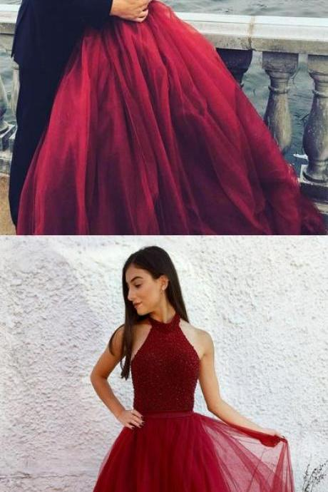 Halter prom dress, red prom dress, long prom dress, backless prom dress