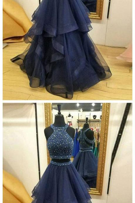 Two Piece Beaded Multi Layered Prom Dresses Organza Navy Blue Formal Dresses