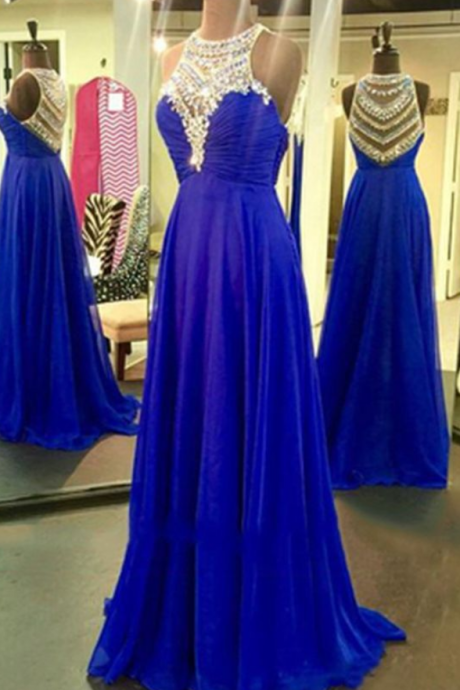 Royal blue chiffon A-line sequins o-neck shining beading rhinestone long prom dresses,