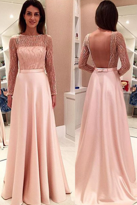 Glamorous Long Sleeve Lace Prom Dress,A-line Stain Open Back Prom Dresses Evening Dresses
