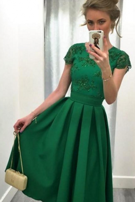 Green Knee-Length Prom Dress,A-line Short Prom Dresses,Short Sleeve Prom Dress Homecoming Dress