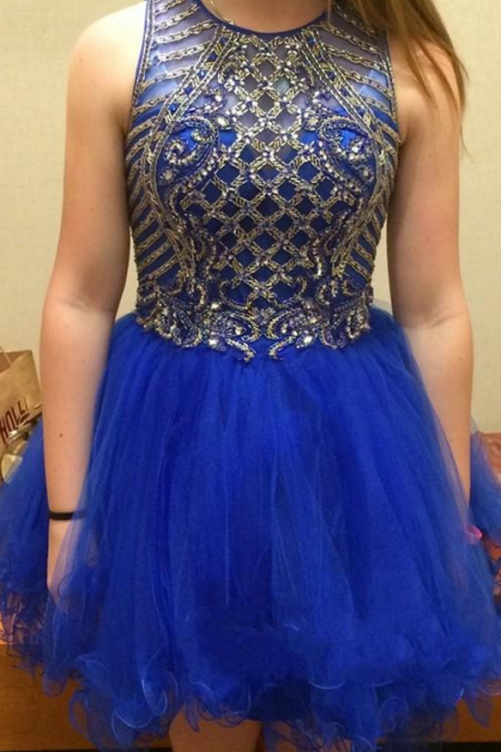 short prom dress , blue sleeveless prom dress , beadings tulle prom dress , sexy prom dress , aline prom dress , formal dress for prom , prom gown