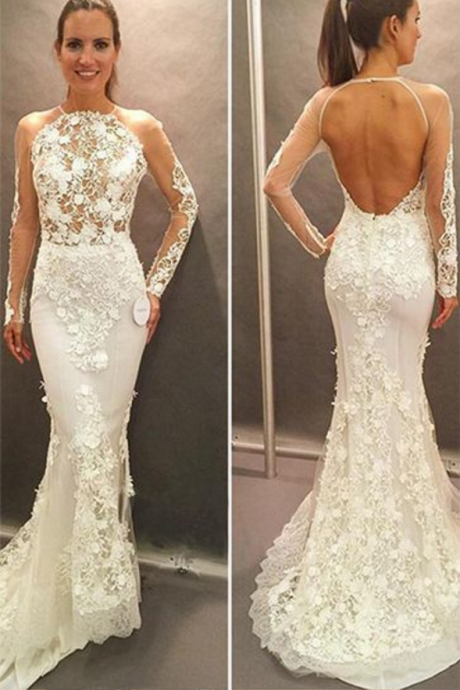 Long Sleeves Bridal Dress,Lace Appliques Wedding Gowns,Open Back Court Train Wedding Dress