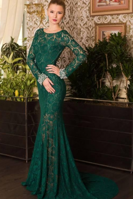 New Long Sleeve Green Lace Mermaid Evening Dresses With Open Back Court Floor Length Vesitods De Festa 2015 Prom Dresses Celebrity Dresses