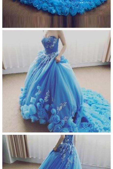 New Blue Sweetheart Luxury Prom Dresses with Hand Made Flower and Lace Appliques Lace Up Back Formal Evening Ball Gowns